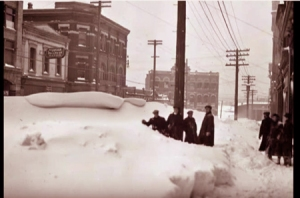 Lower Yates Street, Victoria B.C. blocked with snow February 1916